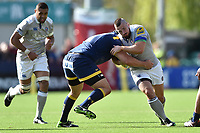 Nathan Charles of Bath Rugby takes on the Worcester Warriors defence. Aviva Premiership match, between Worcester Warriors and Bath Rugby on April 15, 2017 at Sixways Stadium in Worcester, England. Photo by: Patrick Khachfe / Onside Images