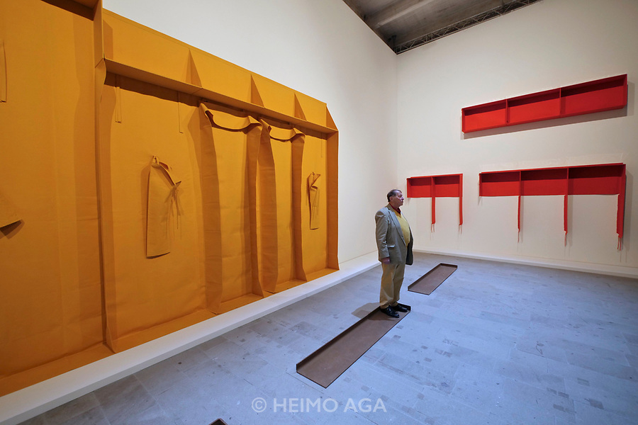 57th Art Biennale in Venice - Viva Arte Viva.<br /> Arsenale. Franz Erhard Walther: Eight Stride Pedestal activation (performance of the artist).