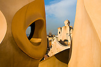 In the early 1900s, Antoni Gaudi designed a famous apartment building called Casa Mila.  It is better known today as La Pedrera museum.   Most interesting is the roof, where the chimneys are designed as fantasic shapes and figures.