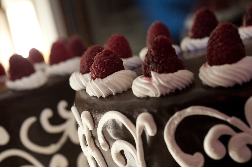 Detail of a cake one of the specialty foods served at The Landmark Inn an historic hotel in Marquette Michigan.