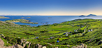 derrynane national park panorama image with view on harbour and scariff islands ring of kerry ireland / dr057