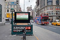 "A subway entrance information display warns of the eminent shutdown of the transit system because of Hurricane Sandy, in New York on Sunday, October 28, 2012. In advance of the arrival of Hurricane Sandy New York will shut down the subways at 7 PM on Sunday and evacuate low lying ""Zone A"" areas including Battery Park City. In addition the schools will be closed on Monday. (© Richard B. Levine)"