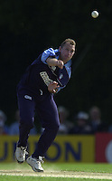 .14/07/2002 - Sport - Cricket- Norwich Union League..Middlesex Crusaders vs Gloucester Gladiators.James Averis, starts to make the breakthrough for Gloucester.