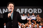 Comedian Dennis Miller speaks at a campaign rally for Republican vice presidential candidate Rep. Paul Ryan in Fort Myers, Florida, October 18, 2012.