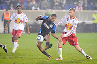 Ryan Johnson (19) of the San Jose Earthquakes takes a shot during the 2nd leg of the Major League Soccer (MLS) Eastern Conference Semifinals against the New York Red Bulls at Red Bull Arena in Harrison, NJ, on November 04, 2010.