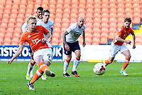 Blackpool's Mark Cullen scores his sides third goal from a penalty<br /> <br /> Photographer Richard Martin-Roberts/CameraSport<br /> <br /> The EFL Sky Bet League Two Play-Off Semi Final First Leg - Blackpool v Luton Town - Sunday May 14th 2017 - Bloomfield Road - Blackpool<br /> <br /> World Copyright &copy; 2017 CameraSport. All rights reserved. 43 Linden Ave. Countesthorpe. Leicester. England. LE8 5PG - Tel: +44 (0) 116 277 4147 - admin@camerasport.com - www.camerasport.com