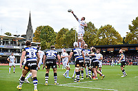 Damian Welch of Exeter Chiefs wins the ball at a lineout. Aviva Premiership match, between Bath Rugby and Exeter Chiefs on October 17, 2015 at the Recreation Ground in Bath, England. Photo by: Patrick Khachfe / Onside Images