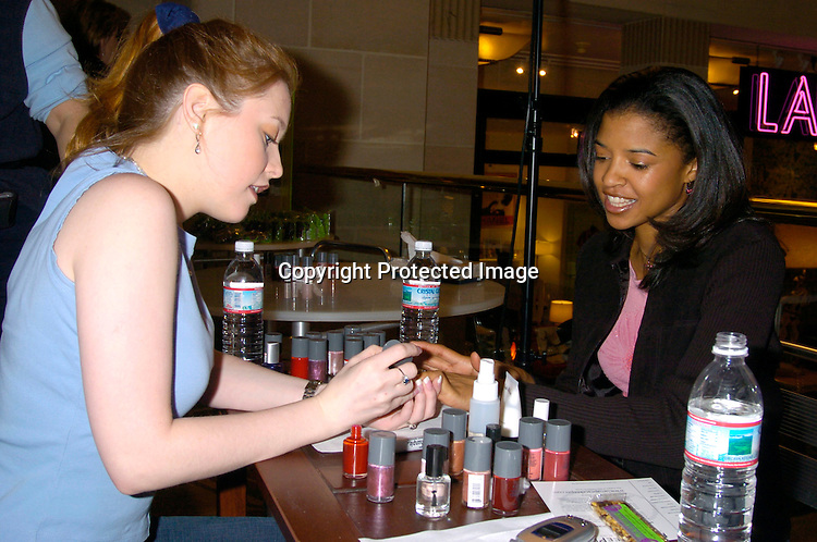 Renee Goldsberry and Melissa Archer ..at Bendels for Peacekeeper Cause-metics  on February 7, 2004. The soap stars gave manicures to fans. Photo by Robin Platzer, Twin Images
