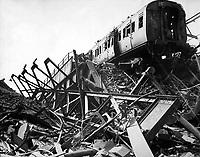 The London Necropolis Railway Station, privately owned station in Westminster Bridge Road, after London's biggest night raid of the war.  Ca. 1941.  New Times Paris Bureau Collection.  (USIA)<br /> Exact Date Shot Unknown<br /> NARA FILE #:  306-NT-901-72<br /> WAR &amp; CONFLICT BOOK #:  1012
