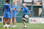 26 August 2011: Head coach Paul Riley juggles the ball for Kia McNeill (16). The Philadelphia Independence held a training session at Sahlen's Stadium in Rochester, New York the day before playing in the Women's Professional Soccer championship game.