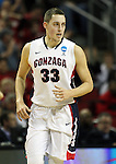 Gonzaga's Kyle Wiltjer (33) heads up court after hitting a 2 pointer against Iowa during the 2015 NCAA Division I Men's Basketball Championship's March 22, 2015 at the Key Arena in Seattle, Washington.   Gonzaga beat Iowa 87-67 to advance to the Sweet 16.    ©2015. Jim Bryant Photo. ALL RIGHTS RESERVED.