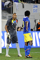 Ecuador goalkeeper Maximo Banguera (1) talks with Gabriel Achilier (18). The men's national team of the United States (USA) was defeated by Ecuador (ECU) 1-0 during an international friendly at Red Bull Arena in Harrison, NJ, on October 11, 2011.
