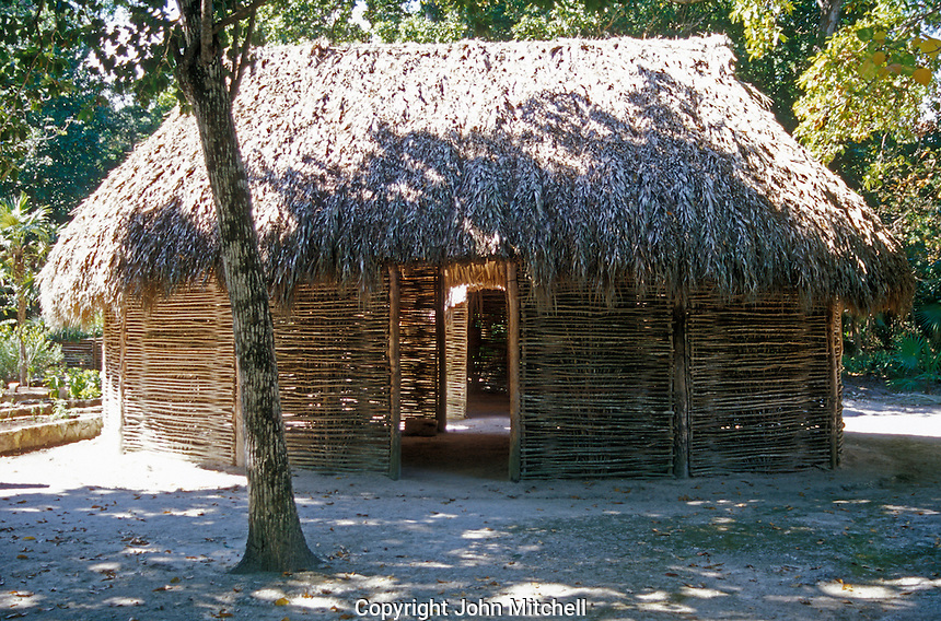 Traditional Mayan thatched roof house or NA, Quintana Roo, Mexico