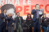 A Guy Fawkes mask red a letter during the presentation of Italy's Tsipras List in Piazza Affari (Milan Stock Exchange) , on April 23, 2014. Photo: Adamo Di Loreto/BuenaVista*Photo