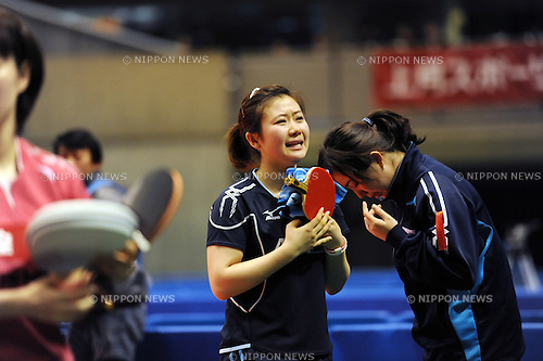 (L-R) Ai Fukuhara,  Chan Risa,.JANUARY 21, 2012 - Table Tennis :.Ai Fukuhara celebrates with her coach Chan Risa after winning the All Japan Table Tennis Championships Women's Singles Final at Tokyo Metropolitan Gymnasium in Tokyo, Japan. (Photo by Hitoshi Mochizuki/AFLO)