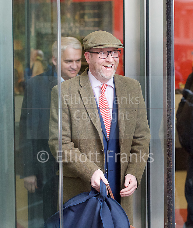 Andrew Marr Show <br /> departures<br /> BBC, Broadcasting House, london, Great Britain <br /> 5th March 2017 <br /> <br /> Paul Nuttall <br /> UKIP Leader<br /> <br /> <br /> <br /> <br /> Photograph by Elliott Franks <br /> Image licensed to Elliott Franks Photography Services