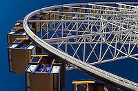 The Orange County Fairgrounds RCS ferris wheel, seen at the 2011 Orange County Fair.  The cars are numbered.