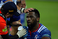 Stormers captain Siya Kolisi is checked by medical staff during the Super Rugby match between the Hurricanes and Stormers at Westpac Stadium in Wellington, New Zealand on Friday, 5 May 2017. Photo: Mike Moran / lintottphoto.co.nz