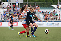 Cary, North Carolina  - Sunday May 21, 2017: McCall Zerboni and Sofia Huerta during a regular season National Women's Soccer League (NWSL) match between the North Carolina Courage and the Chicago Red Stars at Sahlen's Stadium at WakeMed Soccer Park. Chicago won the game 3-1.