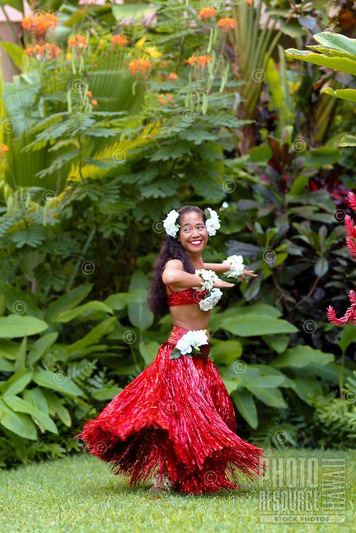 Hapa-Haole hula dancer preparing to dance at the Royal Hawaiian Hotel for the annual festival