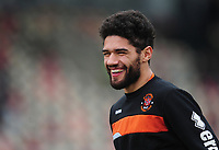 Blackpool's Kelvin Mellor during the pre-match warm-up <br /> <br /> Photographer Kevin Barnes/CameraSport<br /> <br /> The EFL Sky Bet League Two - Saturday 18th March 2017 - Newport County v Blackpool - Rodney Parade - Newport<br /> <br /> World Copyright &copy; 2017 CameraSport. All rights reserved. 43 Linden Ave. Countesthorpe. Leicester. England. LE8 5PG - Tel: +44 (0) 116 277 4147 - admin@camerasport.com - www.camerasport.com