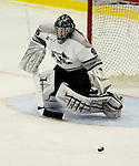 1 December 2007: Providence College Friars' goaltender Tyler Sims, a Senior from Fort Wayne, IN, in action against the University of Vermont Catamounts at Gutterson Fieldhouse in Burlington, Vermont. Sims earned his second shutout of the season and the 6th of his career, as the Friars defeated the Catamounts 4-0 in front of a capacity crowd of 4003, for the 64th consecutive sell-out at Gutterson...Mandatory Photo Credit: Ed Wolfstein Photo