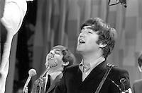 John Lennon Paul McCartney, Beatles perform on Ed Sullivan Show, February 1964, New York. Photographer John G. Zimmerman. C1-24