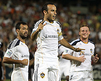 Landon Donavon #10 of the Los Angeles Galaxy after scoring the winning goal during an MLS match against D.C. United at RFK Stadium on July 18 2010, in Washington D.C. Galaxy won 2-1.