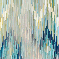 Loom, a handmade mosaic shown in Quartz, Aquamarine, Tanzanite and Turquoise jewel glass, is part of the Ikat collection by Sara Baldwin for New Ravenna.