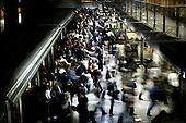 Warsaw 07.04.2008 Poland<br /> Rush hour in Warsaw subway central station. Warsaw have only one subway line so there's always a crush<br /> (Photo by Adam Lach / Napo Images for Newsweek Polska)<br /> <br /> Godzina szczytu na warszawski metrze. Warszawa posiada tylko jedna linie metra, zatem zawsze panuje tam scisk<br /> (Fot Adam Lach / Napo Images dla Newsweek Polska)