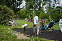 A mother  breastfeeding her child during a family outing to a local park and gardens. She is watching her husband play with her older boy on a swing.<br /> <br /> 11-06-2015<br /> Hampshire, England, UK<br /> <br /> &copy; Paul Carter / wdiip.co.uk