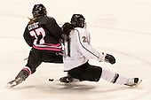 Kendall Coyne (NU - 77), Haley Frade (PC - 21) - The Northeastern University Huskies defeated the visiting Providence College Friars 8-7 on Sunday, January 20, 2013, at Matthews Arena in Boston, Massachusetts.