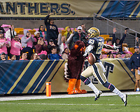 Pitt wide receiver Tyler Boyd (23) celebrates a 53-yard touchdown catch.  The Pitt Panthers defeated the Virginia Tech Hokies 21-16 at Heinz Field, Pittsburgh Pennsylvania on October 16, 2014
