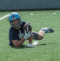 NWA Democrat-Gazette/ANTHONY REYES &bull; @NWATONYR<br /> Luke Hannon of Springdale Har-Ber looks up to the referee to confirm a catch against Springdale Friday, July 10, 2015 during the Southwest Elite 7 on 7 tournament at Jarrell Williams Bulldog Stadium in Springdale.