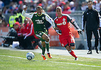 26 March 2011: Portland Timbers defender Jeremy Hall #17 and Toronto FC defender Mikael Yourassowsky #19 in action during an MLS game between the Portland Timbers and the Toronto FC at BMO Field in Toronto, Ontario Canada....