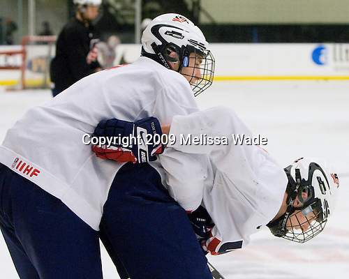 Jason Zucker (US - 7), Chris Brown (US - 12) - The US practiced the morning of Sunday, April 19, 2009, prior to their gold medal game against Russia in the 2009 World Under 18 Championship at the Urban Plains Center in Fargo, North Dakota.