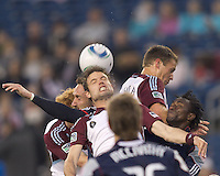 Corner kick action. In a Major League Soccer (MLS) match, the New England Revolution tied the Colorado Rapids, 0-0, at Gillette Stadium on May 7, 2011.
