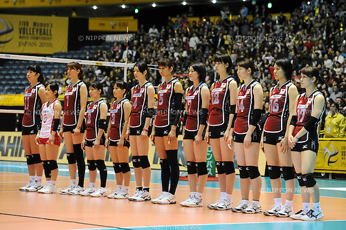 File Photo of Japan team group line-up (JPN), OCTOBER 29, 2010 - Volleyball : Japan players line up before the 2010 FIVB Women's Volleyball World Championship First Round Pool A match between Poland 2-3 Japan at Yoyogi 1st Gymnasium in Tokyo, Japan. (Photo by AZUL/AFLO).