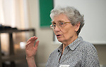 Marie Claire Wrage, Professor Emerita of French at Ohio University leads a discussion about a Holocaust memoir that she helped translate. Photo By Ben Siegel/ Ohio University