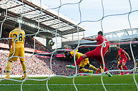 Crystal Palace's Christian Benteke scores his sides second goal <br /> <br /> Photographer Terry Donnelly/CameraSport<br /> <br /> The Premier League - Liverpool v Crystal Palace - Sunday 23rd April 2017 - Anfield - Liverpool<br /> <br /> World Copyright &copy; 2017 CameraSport. All rights reserved. 43 Linden Ave. Countesthorpe. Leicester. England. LE8 5PG - Tel: +44 (0) 116 277 4147 - admin@camerasport.com - www.camerasport.com