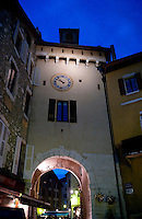 Night view of the Porte Sainte-Claire in Annecy, capital of the Haute-Savoie department (France, 21/06/2010)