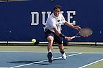 DURHAM, NC - APRIL 14: Notre Dame's Alex Lebedev. The Duke University Blue Devils hosted the University of Notre Dame Fighting Irish on April 14, 2017, at Ambler Tennis Stadium in Durham, NC in a Division I College Men's Tennis match. Duke won the match 4-3.