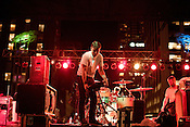 September 7, 2012. Raleigh, North Carolina.. Built to Spill breaks down the stage after playing City Plaza on day 2 of Hopscotch 2012.