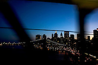 Views of lower manhattan seen from the D train crossing the Manhattan bridge. Street photography in NY August 4, 2007