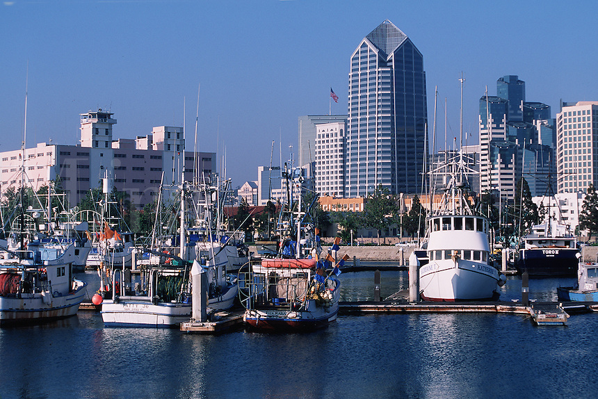 The San Diego skyline and waterfront with high rise buildings in the background and fishing boats in the marina. San Diego, California.