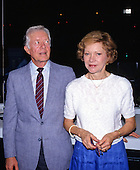 Former United States President Jimmy Carter, accompanied by his wife, former first lady Rosalynn Carter, visits the Omni Coliseum in Atlanta, Georgia prior to his addressing the 1988 Democratic National Convention on July 18, 1988.<br /> Credit: Arnie Sachs / CNP