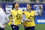26 October 2014: Sydney Leroux (USA) (left) and Kelley O'Hara (USA) (right). The United States Women's National Team played the Costa Rica Women's National Team at PPL Park in Chester, Pennsylvania in the 2014 CONCACAF Women's Championship championship game. By advancing to the final, both teams have qualified for next year's Women's World Cup in Canada. The United States won the game 6-0.