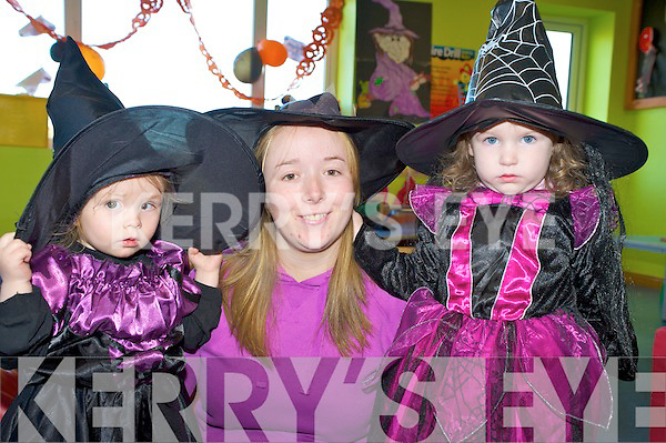 Enjoying the Halloween fancy dress in Scamps and Scholars childcare in Killorglin on Friday were Niamh Cronin Cane and Orlaith Burke with childcare assistant Margaret O'Sullivan.   Copyright Kerry's Eye 2008