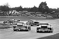 The Datsun 280ZX Turbo driven by Sam Posey and Paul Newman leads a group of cars through Turn 5 during a Camel GT IMSA race at Road America near Elkhart Lake, Wisconsin, on August 31, 1980. (Photo by Bob Harmeyer)