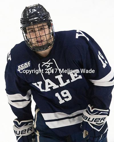 Ted Hart (Yale - 19) - The Harvard University Crimson tied the visiting Yale University Bulldogs 1-1 on Saturday, January 21, 2017, at the Bright-Landry Hockey Center in Boston, Massachusetts.